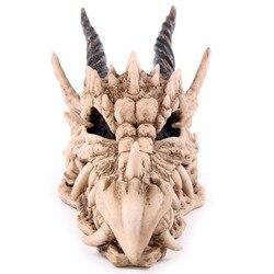 Rosnando mágico dragão crânio tesouro trinket caixa mealheiro medieval gótico chifre dragão crânio escultura estátua moeda caixa