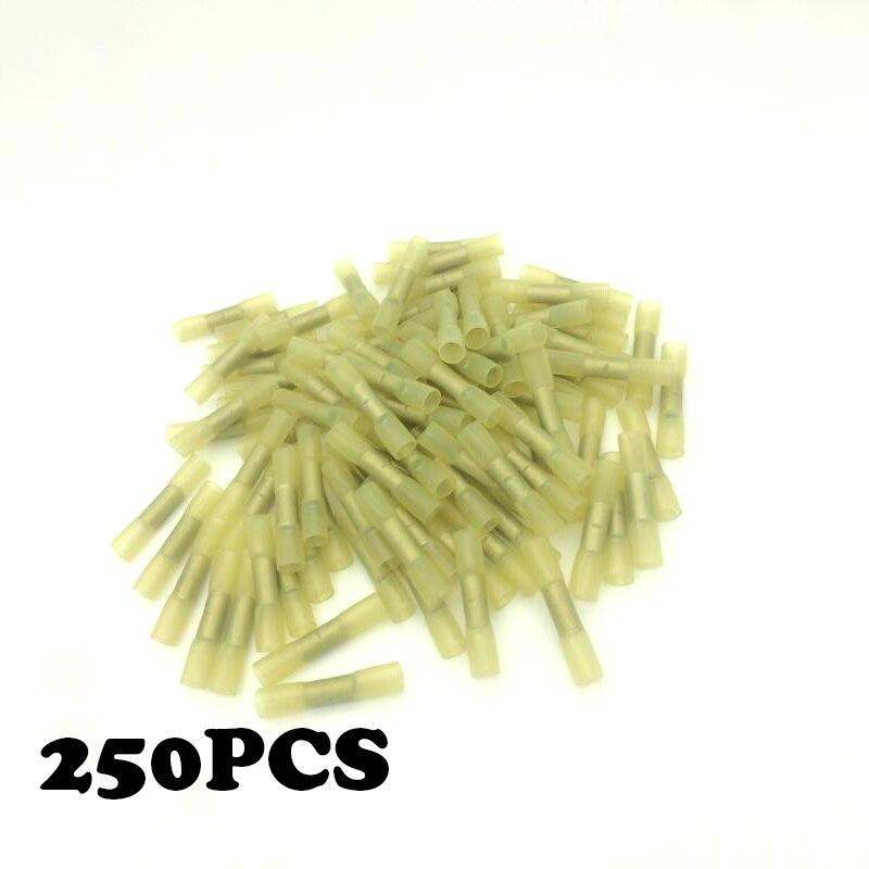 250 pcs BHT5 12-10AWG Isolé Thermorétractable Connecteurs Butt Fil Électrique À Sertir Bornes Kit Fil