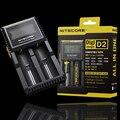 Nitecore d2 original display lcd carregador de bateria universal para 16340 18650 26650 aa aaa recarregável li-ion baterias de carregamento
