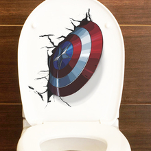 3D Vivid Captain America Shield Through Wall Stickers For Kids Room Toilet Decor The Avengers Wall Decals Art PVC Mural Poster фреска the whole room room america syz003a
