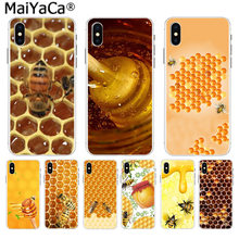 MaiYaCa Golden honeycomb miel abeja en venta lujo Cool accesorios para teléfono funda para iPhone 8 7 6 6 S Plus X 10 5 5S SE XR XS.(China)