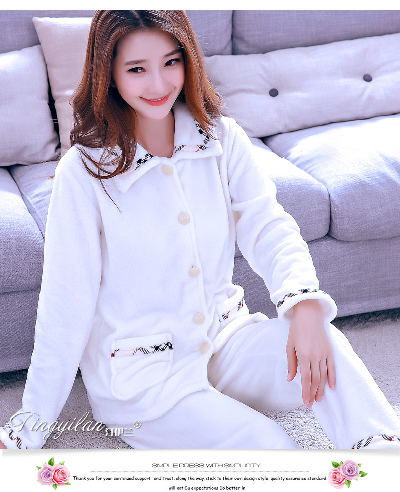 Women Flannel Pajamas Female Coral Fleece Pajama Sets Girls Warm Sleepwear Velvet Long-sleeve Casual Nightgown D-2100