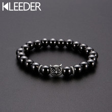 KLEEDER Weight Loss Stone Owl Bracelets for Women Men Fashion Jewelry Magnetic Therapy Hematite Stretch Black Beaded Bracelet