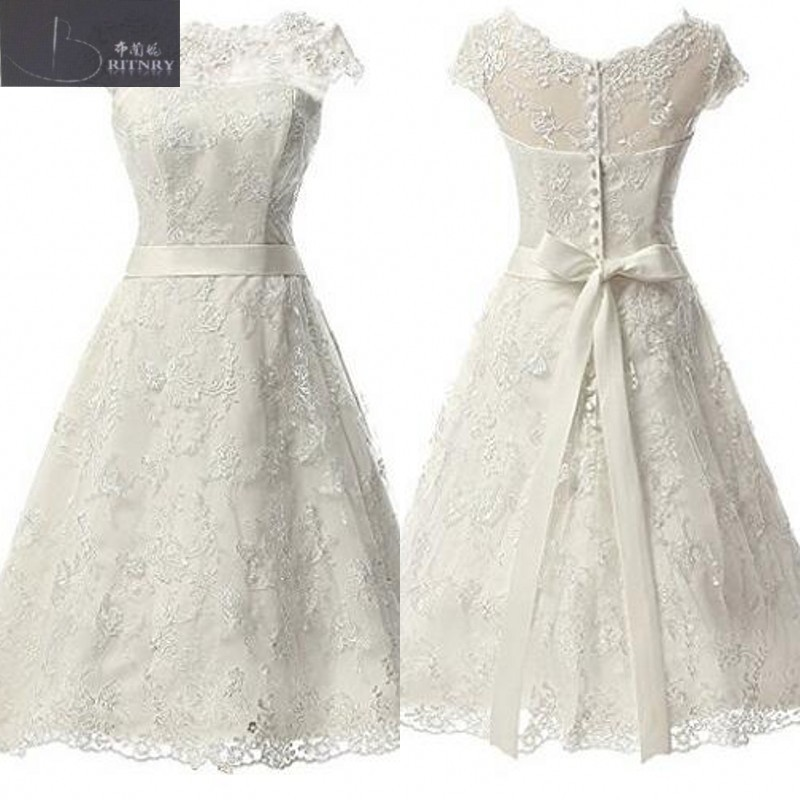 Vintage Lace Tea Length Wedding Dresses Real Sample Boat Neck Capped Sleeves A Line Short Bridal Gown with Sash