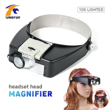 Tungfull Glasses Loupe Wearing Style With Led Light Magnifier Magnifying Glasses Loupe Glasses Magnifier With Led Reading Repair mg81001 h two way regulation head wearing magnifier w 2 led light black white 3 x aaa