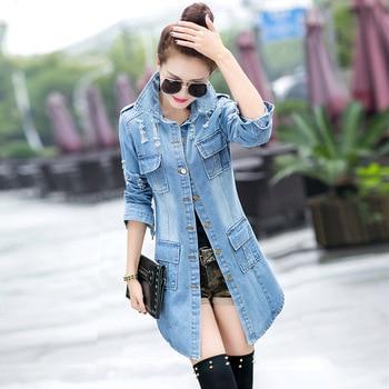 PEONFLY Fashion Vintage Vrouwen Trenchcoat Lente Herfst Vrouwelijke Gerafeld Gat Lange Denim Jassen Plus Size Femme Jean Bovenkleding