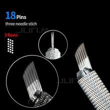 50Pcs Professional Permanent Makeup Microblading Eyebrows Needle 3 Rows 6 Columns 18 Needles Blades For Microblading Manual Pen