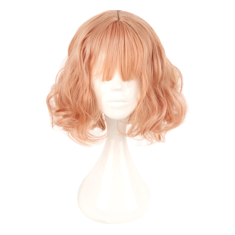 MCOSER Japan and South Korea <font><b>Wig</b></font> Air Bang Paragraph With Daily Harajuku <font><b>Pink</b></font> Gold Cosplay <font><b>Wig</b></font> 100% High Temperature Fiber image