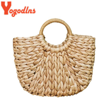 Yogodlns Simple Straw Handbag for Girls Summer Beach Travel Hand Bag Half Moon Hand Woven Rattan Handbags Round Handle Bags