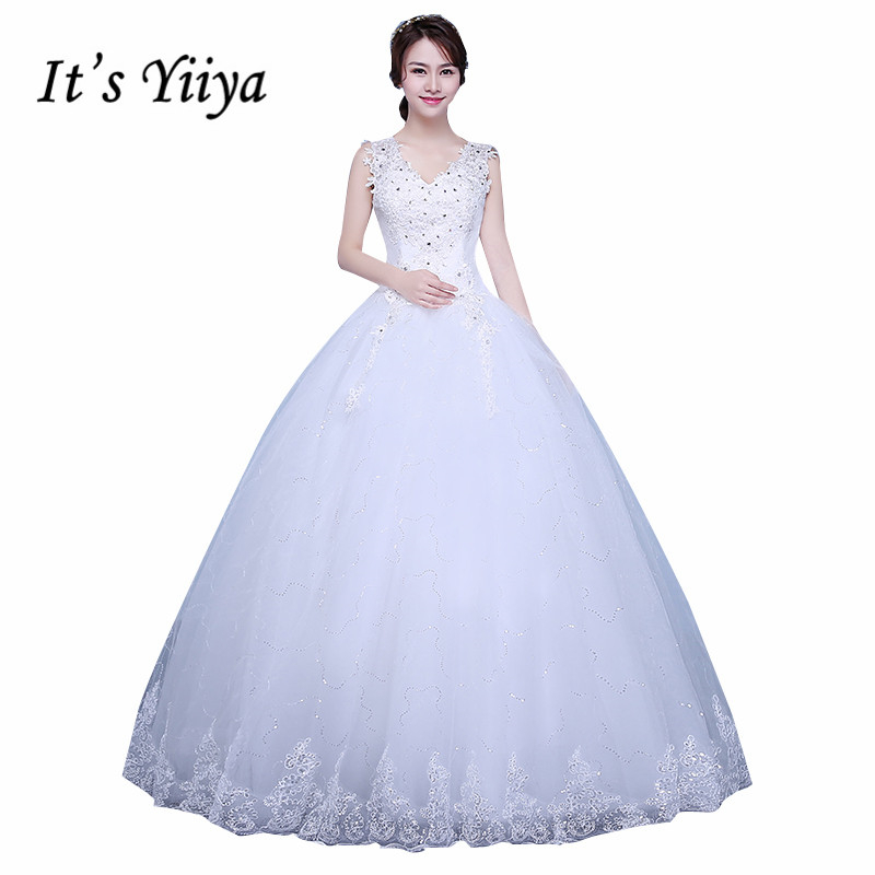 It 39 s yiiya vestidos de novia plus size v neck white for V neck strapless wedding dress