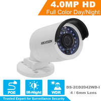 HIKVISIONกล้องวงจรปิดกล้องIP DS-2CD2042WD-I 4MPกระสุนรักษาความปลอดภัยกล้องIPกับPOE
