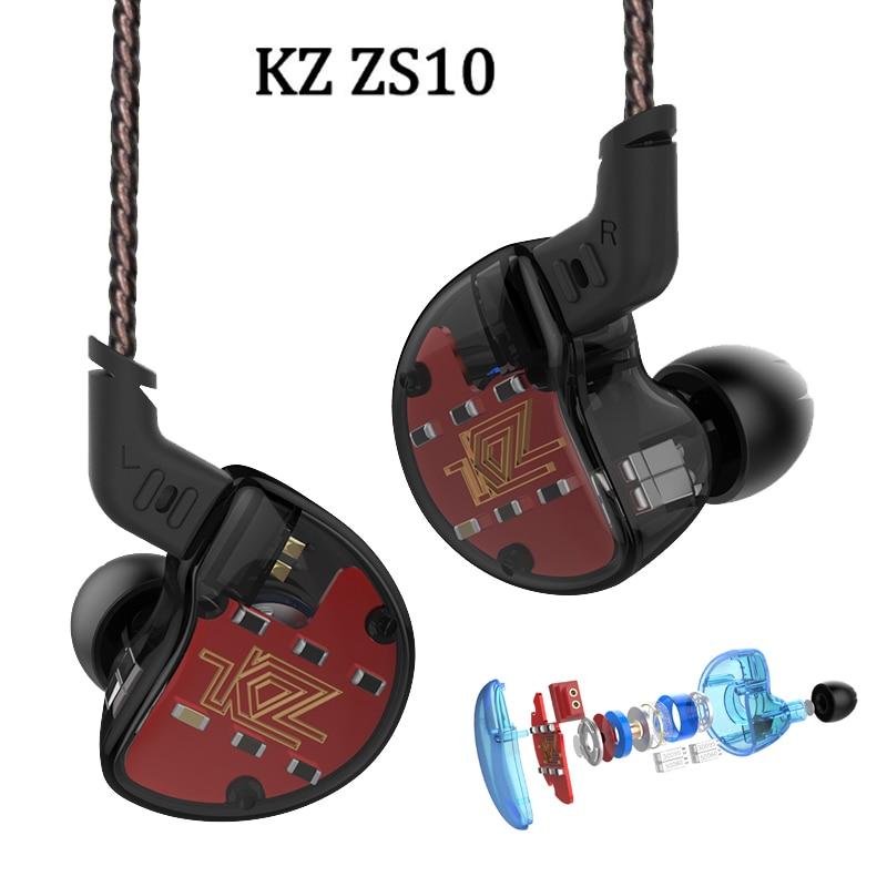 2018 Newest KZ ZS10 4BA+1DD Hybrid In Ear Earphone HIFI DJ Monito Running Sport Earphones Subwoofer Earplug Headset Earbud hot kz zst 1dd 1ba hybrid in ear earphone bass headset hifi dj monito running sport earphones earplug earbud fone de ouvido