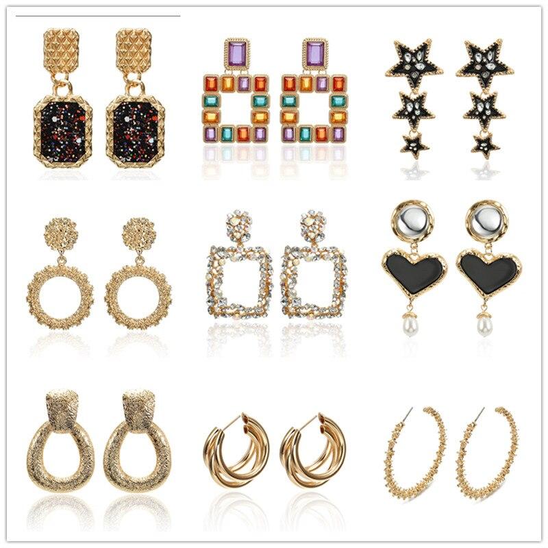 2019 Metal Fashion Blockbuster Ladys Earrings  Drop Dangle For Women Gold Color Geometric