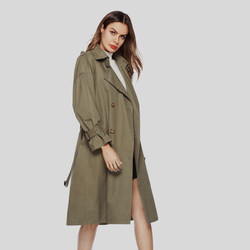 2018 Autumn New Fashion Women's Casual   Trench   Coat Oversize Double Breasted Vintage Washed Outwear Loose Clothing Plus Size