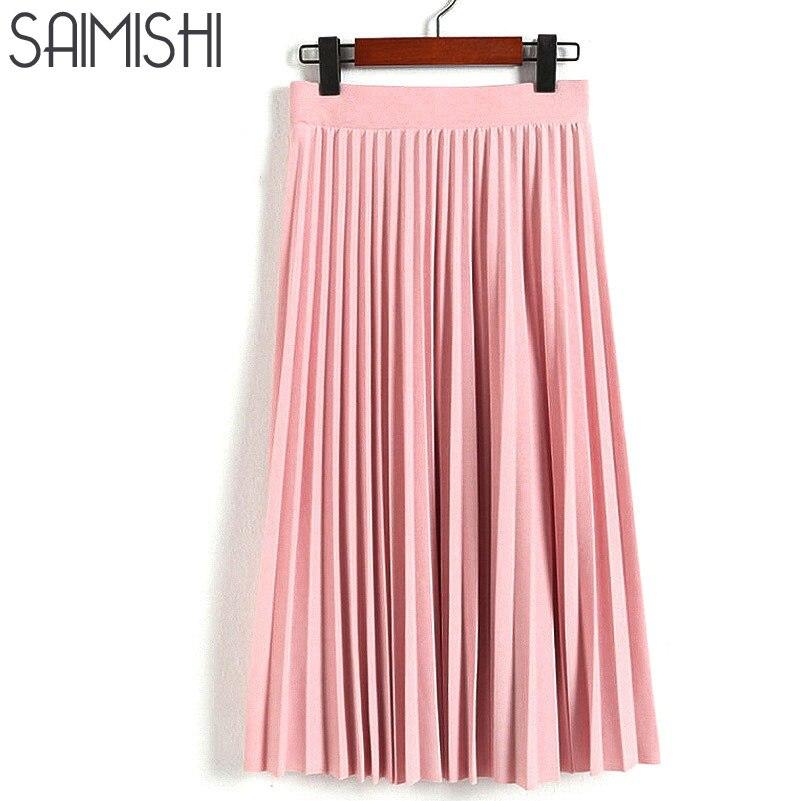 Spring Autumn New 2017 Fashion Women s High Waist Pleated Solid Color Half Length Elastic Skirt
