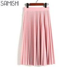 Демисезонный Новый 2017 женские Модные Высокая талия плиссированные однотонные Цвет половина Длина эластичная юбка Акции Леди черного, розового, серого цвета