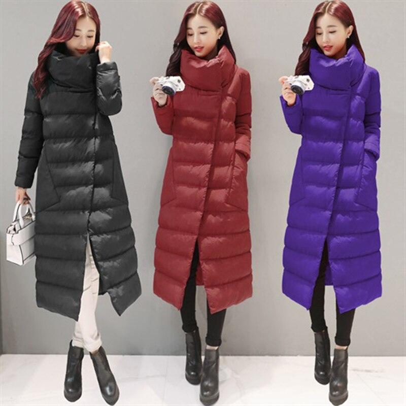 SVESIA Women's   Parkas   Elegant Stand Collar Asymmetry Long Winter Warm Female Jackets Cotton   Parka   Outerwear Coats