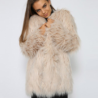Fluffy Long Faux Fur Coat Khaki Women Winter Fake Fur Street Wear Pink Coat Female Fashion