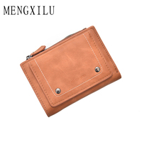MENGXILU Preppy Style Pu Leather Wallet Women Purse Multifunction Lady Small Clutch Purse Coin Card Holder