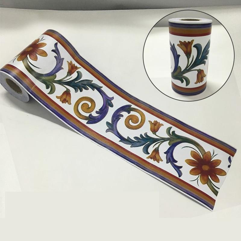 Vintage Flower Vine Wallpaper Borders Kitchen Bathroom Tile Decor Stickers Diy Adhesive Wall Decoration Waist Line Sticker EZ066