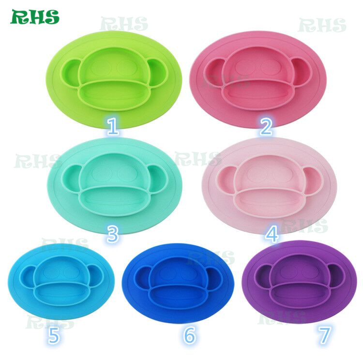 BPA Free High Quality OnePiece with Bowl Shape Silicone Baby plate set Placemat monkey shape placemat 10pcs free shipping by DHL