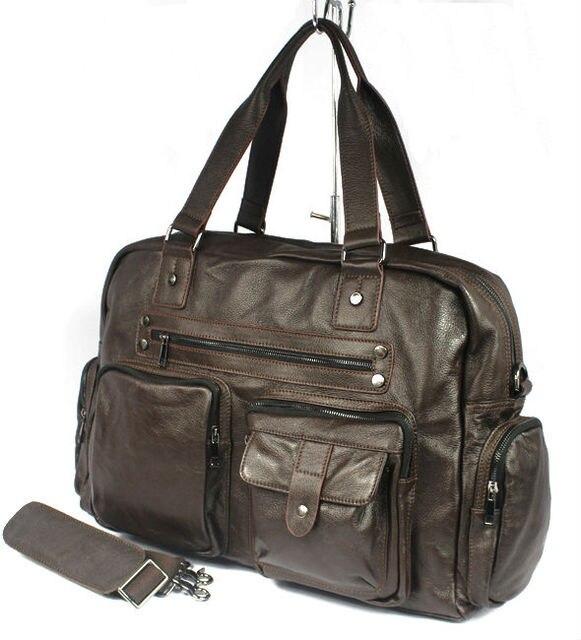 Large Luggage Bag Genuine Leather Travel Bag Men duffle Bag large Leather Shoulder Bag Weekend Tote Big Brown