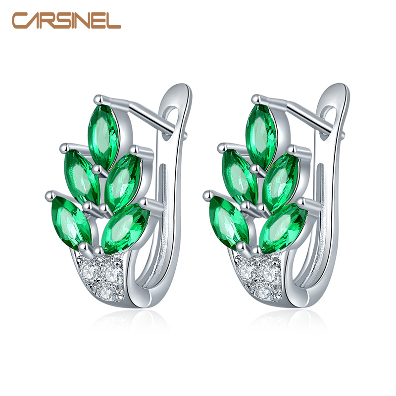 CARSINEL Fashion High Grade Leaves Form AAA Cubic Zircon Hoop Earring Sølv Farge Smykker Øredobber For Damer Øreringer ER0274