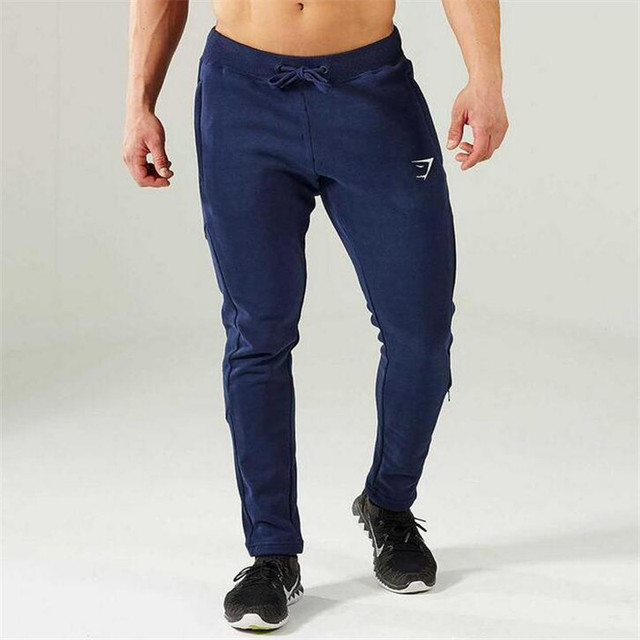 Gymshark Mens Joggers Skinny Sweat Pants Embroidery Logo Tights Sweatpants For Men Side Zipper Sheer Trousers