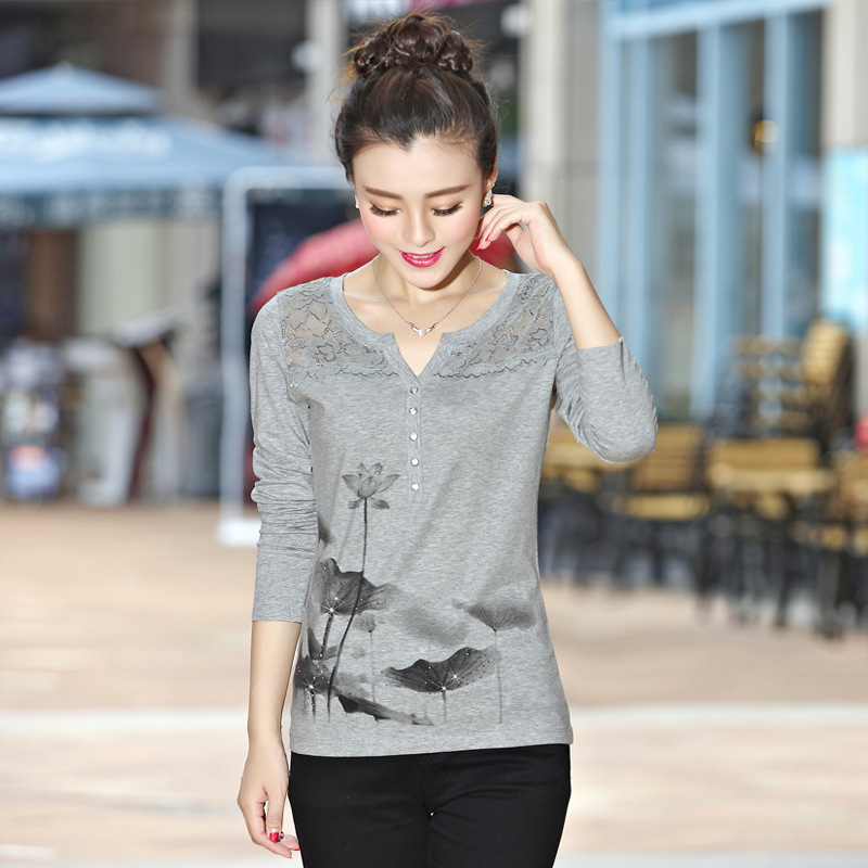 Shintimes Polar Mujer 2018 Korea Long Sleeve Shirt Wanita Vintage T Shirt Tee Shirt Femme Cotton Diamonds Lace T-Shirt Wanita