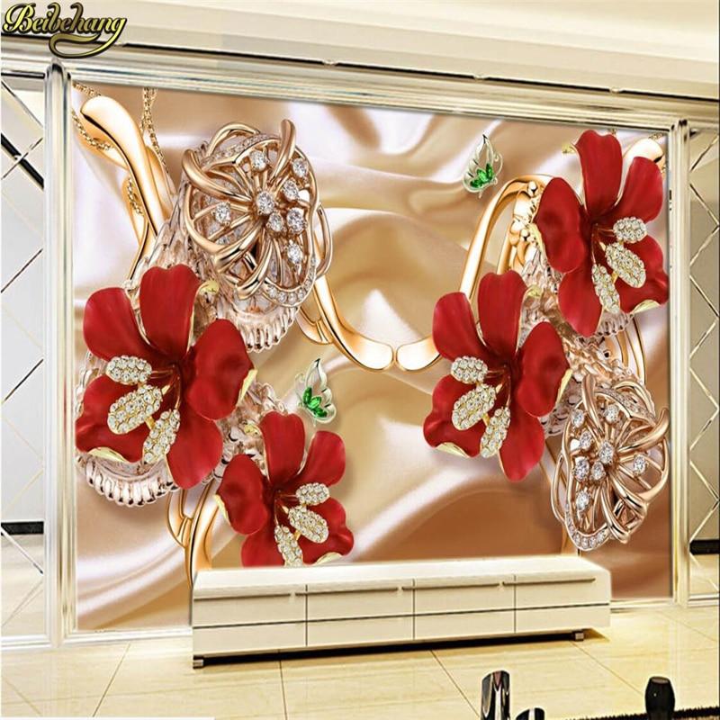 Купить с кэшбэком beibehang Custom Photo Wallpaper Stereo Surfaces Mural 3d rich jewelry jewelry flowers TV backdrop wall paper papel de parede 3d