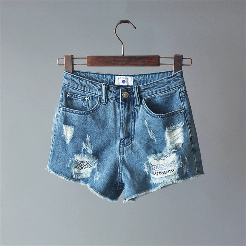 High Waist Shorts Vintage ripped hole fringe blue denim shorts women Casual pocket jeans shorts 2017 summer girl hot shorts summer women fashion high waist jeans shorts worn hole straight denim shorts solid blue curling edge poket casual shorts
