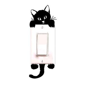 USPS Eu US 2017 Cute Cats Sticker Black White New Cat Wall Stickers Light Switch Decor Decals Art Mural Baby Nursery Room Сумка
