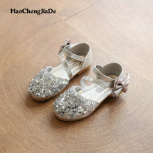 2018 New Children Princess Glitter Sandals Kids Girls Soft Shoes Sequin Low-heeled Dress Party Shoes Pink/Silver/Gold Size 21-36 2018 toddler girls princess crystal rhinestone sandals little kid glitter sequin pumps big children pageant dancing dress shoes