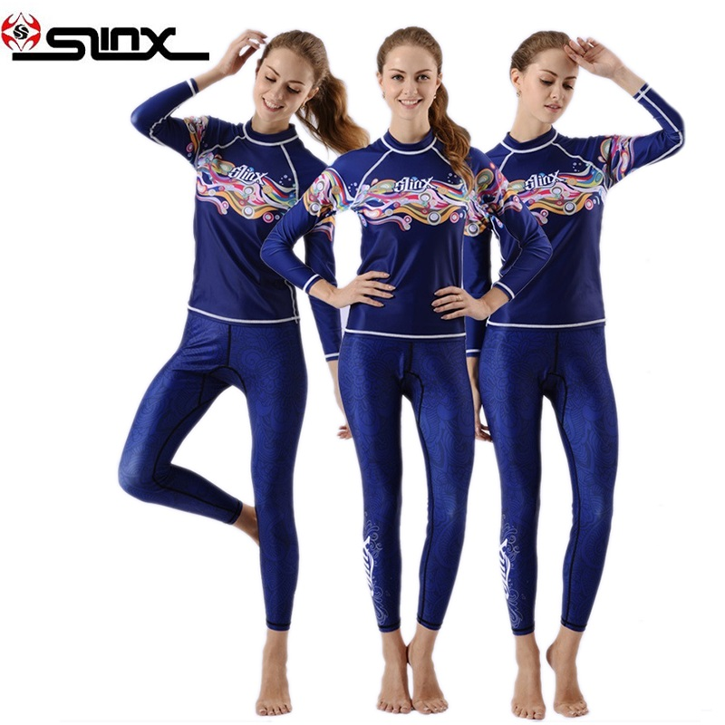 Womens Beach Swimwear Blue Shirts and Pants Long Sleeve UV Protection Suits Woman Rafting Surfing Two pieces Snorkeling Suits