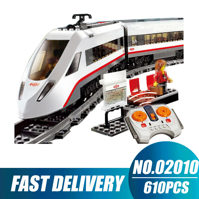 Compatible Legoe City 60051 Lepin 02010 High-speed Passenger Train Remote-control Trucks building blocks toys for children
