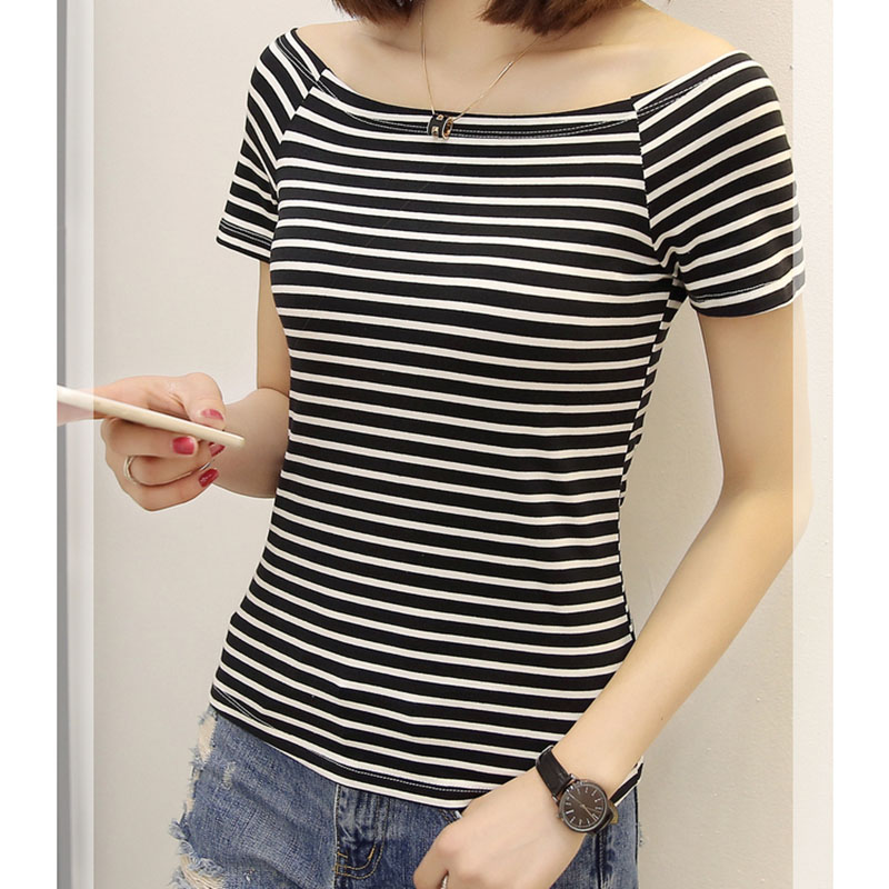 Sexy Off Shoulder Top Striped 2018 Women Summer Blouse Slash neck Womens Tops And Blouses Causa Short Sleeve Shirt Camisas Mujer
