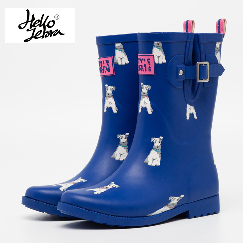 Women Rubber Rain Boots Anti-slip Animals Print Rainboots Short Wellies Water Shoes Navy & Pink & Brown