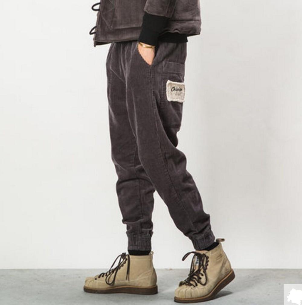 Осенне зимняя обувь Для мужчин мода сплошной цвет универсальные Свободные повседневные вельветовые Штаны мужской старинные штаны шаровары луч брюки!