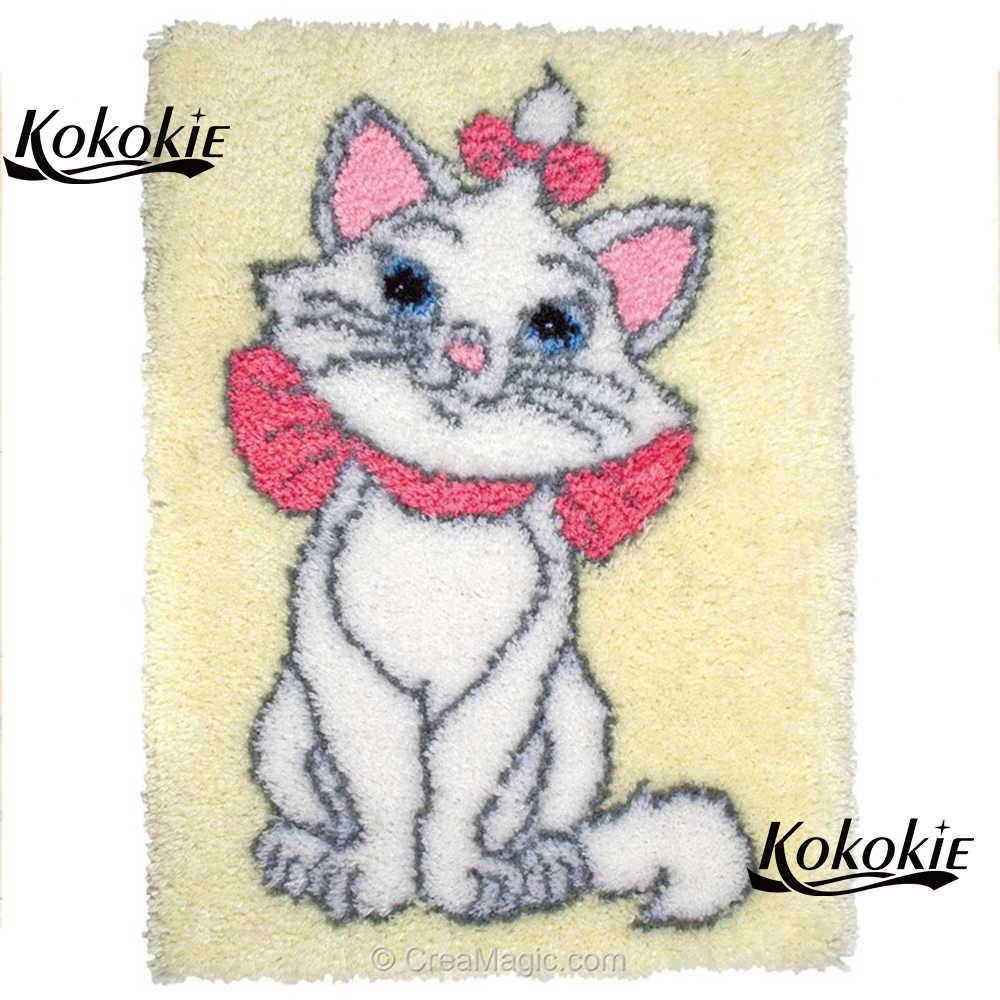חג המולד דקור לבית tapijt תפס וו שטיח בד cartoon חתול הדפסת vloerklee foamiran עבור needleworksets הסרוגה tapis