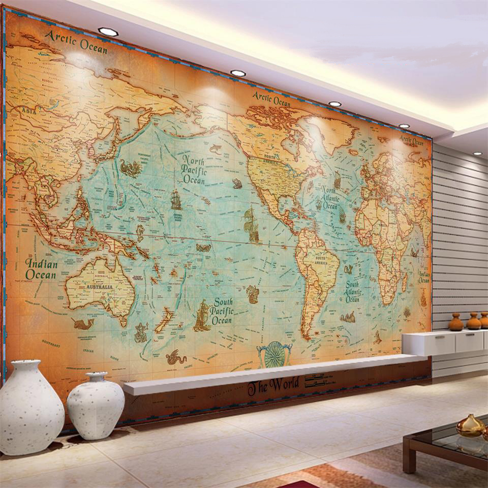 Online get cheap antique map wallpaper for Antique map mural
