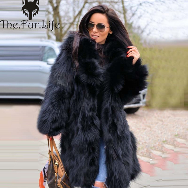 e688489083 Furealux New High Quality Real Fox Fur Coat For Women Black Natural Fashion Fur  Jackets and Coats Warm Winter Big Sale Wholesale