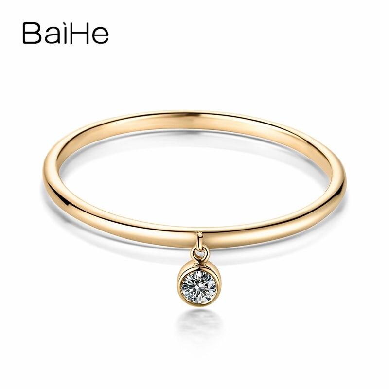 BAIHE Solide 14 K Jaune Or 0.05CT Certified H/SI Round CUT 100% Véritable Naturel Diamants De Mariage Femmes À La Mode fine Bijoux Anneau