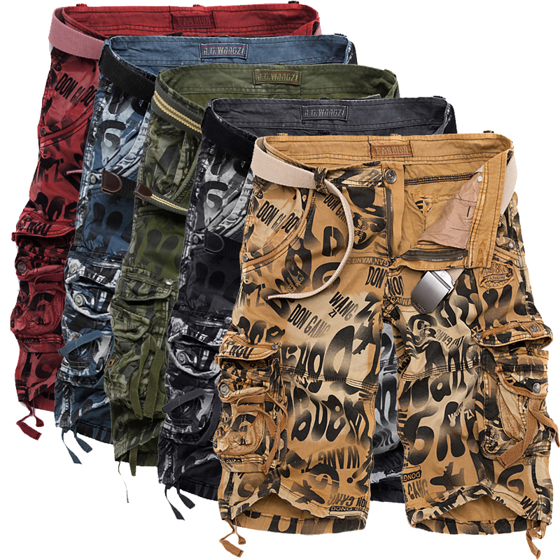 Mens Camouflage Shorts Fashion Casual Multi-pocket Cargo Loose Work Military Knee-length