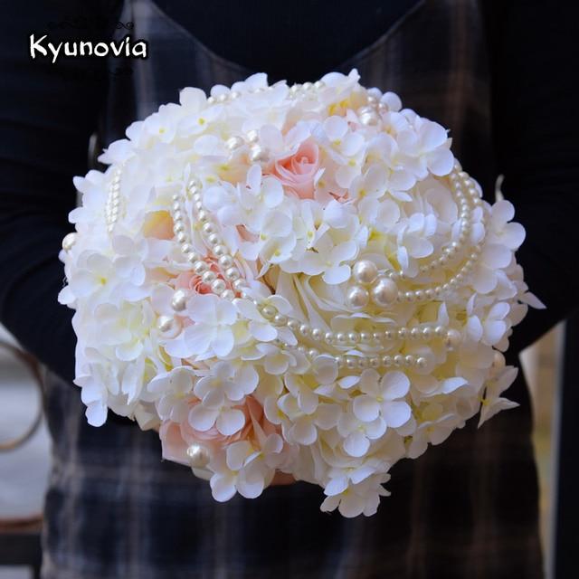 Kyunovia Silk Hydrangea Flower Bouquet Pearl Artificial Rose Bridal ...