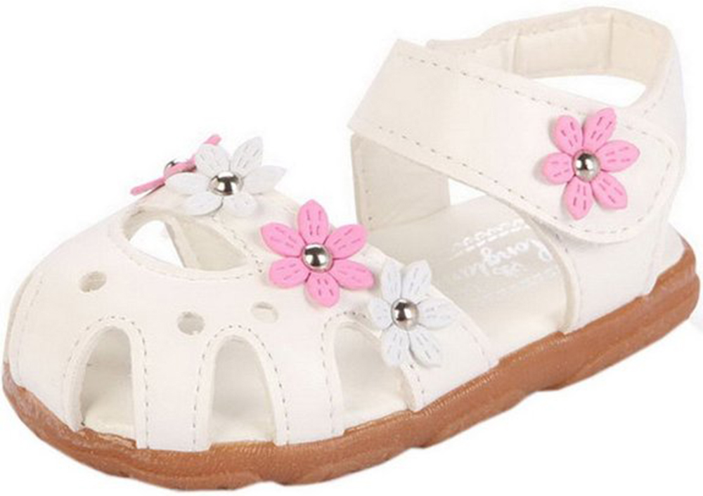 girls sandals summer suitable shoes pu cow muscle sole cute style 3 colors with flowers