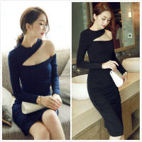 Sexy Women Spring Knitted Dress Sheath Full Sleeve Unique Design 2018 Female Clothing O-neck Elegant OL Outwear MQ0062