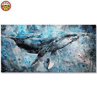 Whale DIY Digital Oil Painting Living Room Entrance Adornment Large Size Color Coloring Graffiti The Secret