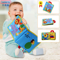 Beiens Baby Cloth Books Infant Toys 12 Pages Soft Cloth Boys Girls Books Educational Rattle Toys