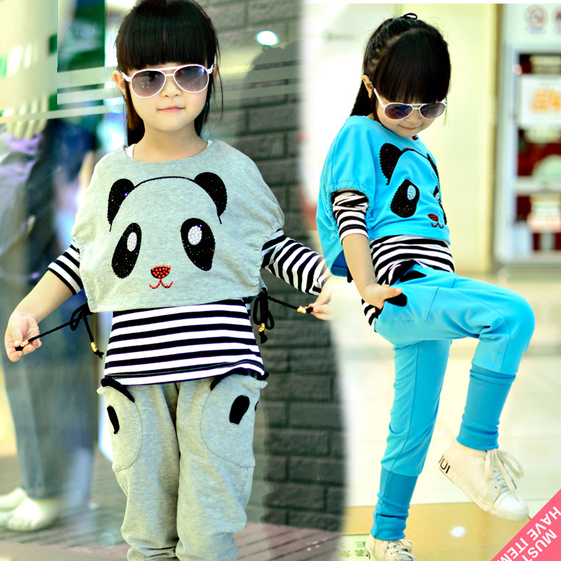 Kids Clothing Sets  for Girls Panda Sets Children Autumn Clothes Casual Tops+Pants Suits Vestido Infant Cartoon Tracksuits 12 14 2017 autumn kids children training jogging suit football kits jerseys suits girls sweatshirt pants floral casual tracksuits