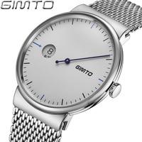 GIMTO Brand Creative Men Watch Ultra Thin Luxury Steel Quartz Wristwatch Calendar Male Clock Female Sport
